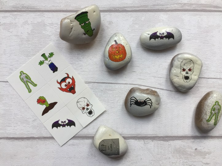halloween-rock-painting-ideas-using-napkin-decoupage-tattoo