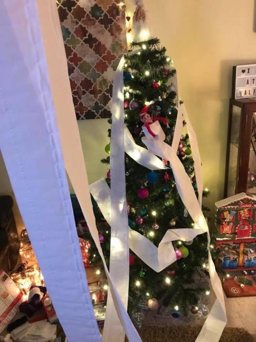 elf on the shelf christmas tree tricks