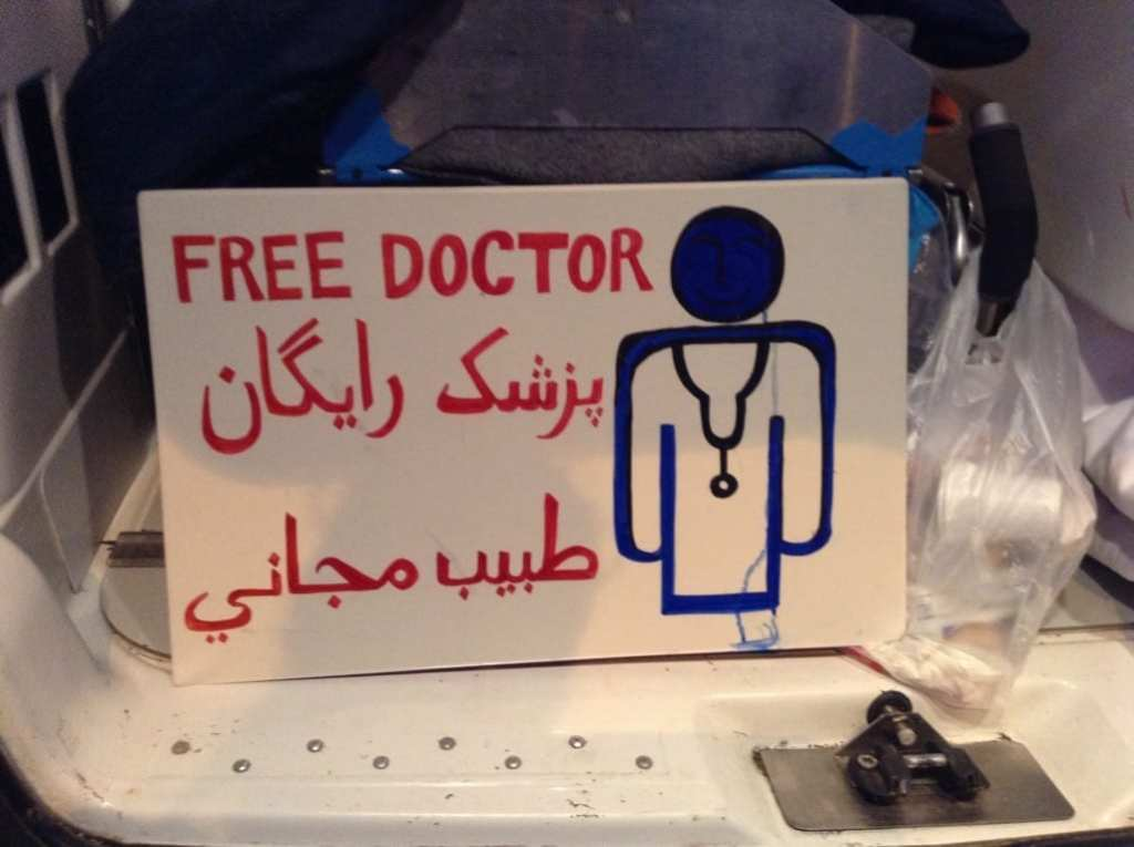 Free Doctor sign at Idomeni Refugee Camp