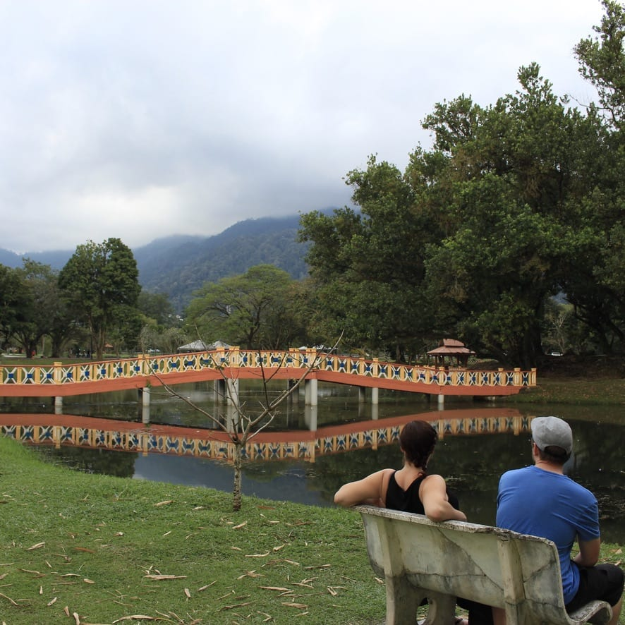 Relaxing next to the Taiping Zigzag bridge