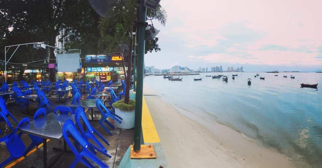 Ocean views from Padang Kota Lama Food Court
