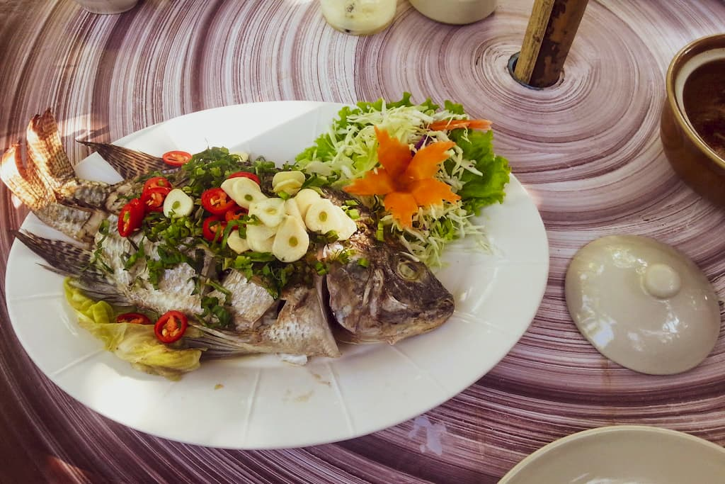Steamed fish near Chiang Mai