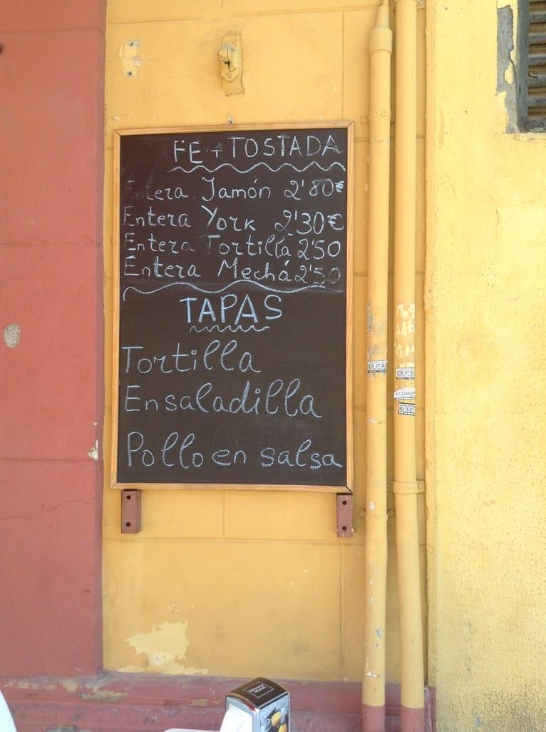 Tapas blackboard menu in seville