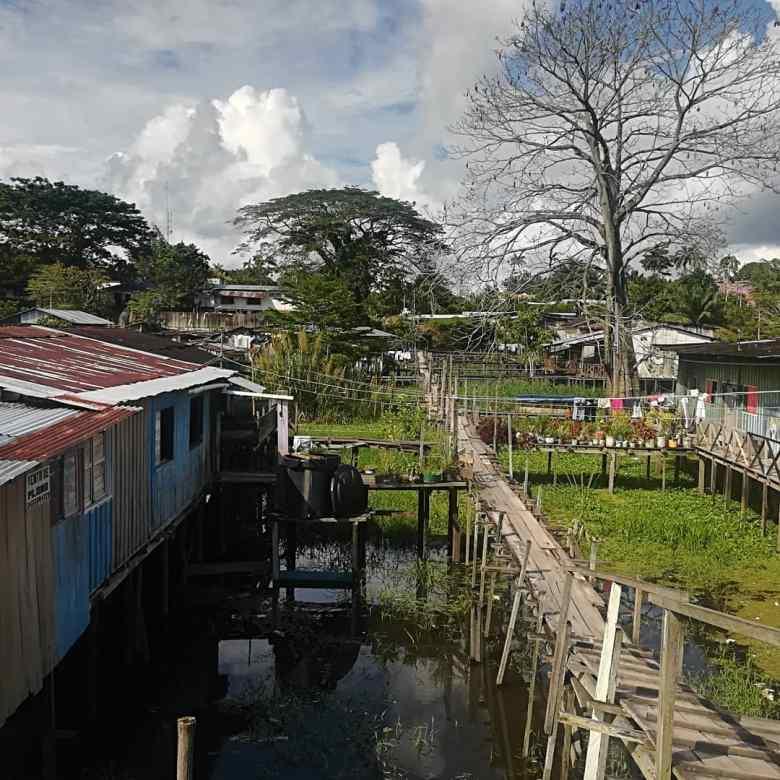 Stilt walkways in Leticia, Colombia