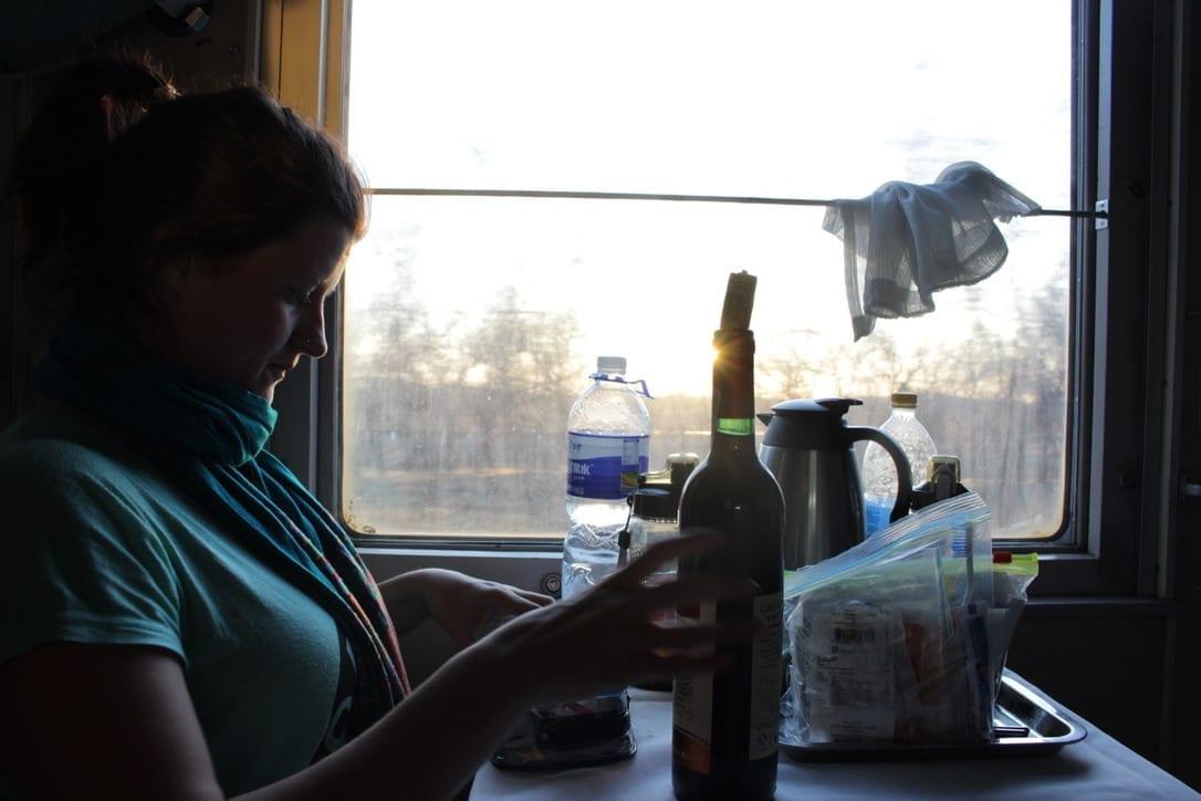 Anna on the train, China to Mongolia