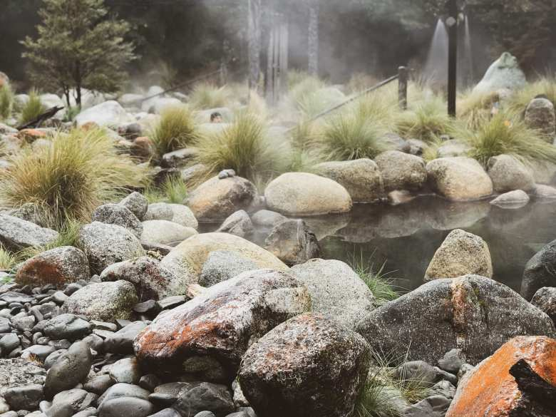 The outdoor rock pools at Maruia Hot Springs