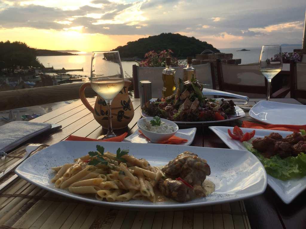 Sunset dinner enjoying the sunset over Ksamil