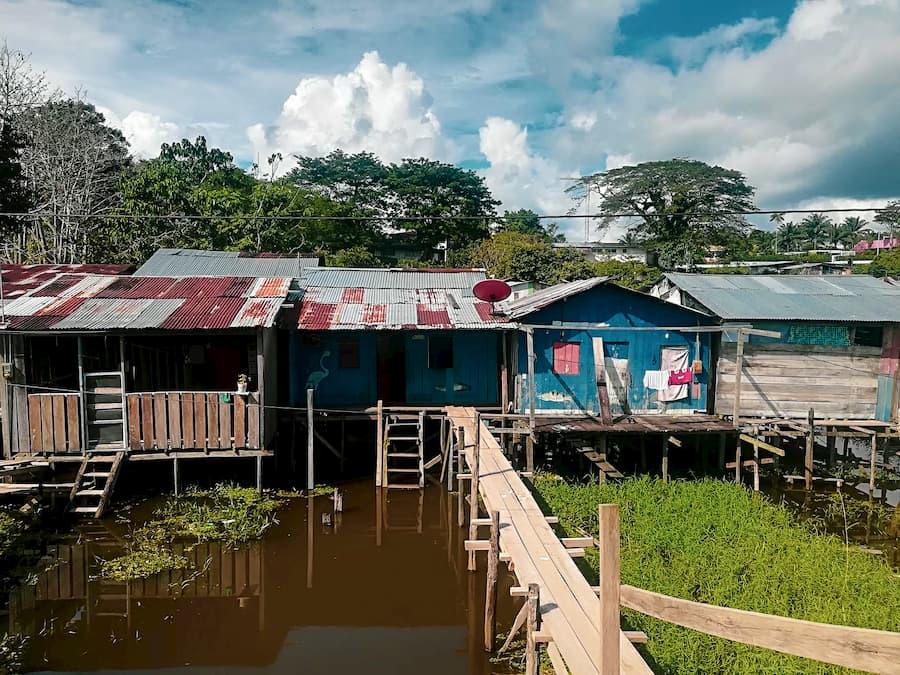 Stilt houses on the riverside in Leticia