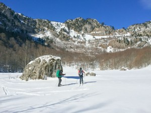 Backcountry skiing on Sinjajevina Mountain