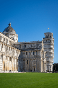 A view of the Cattedrale di Pisa (leaning tower of Pisa) Italy