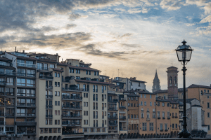 Along the Arno River in Florence Italy