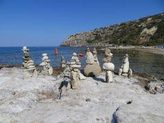 Rock sculptures on Filiraki Beach on Rhodes
