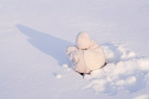 Tiny Hippo Digs in the Snow