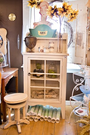 White Stool and Cabinet