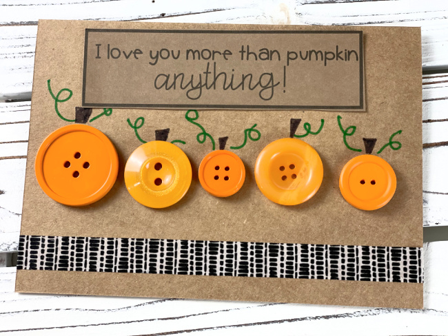 Orange Button Pumpkin Card Handmade