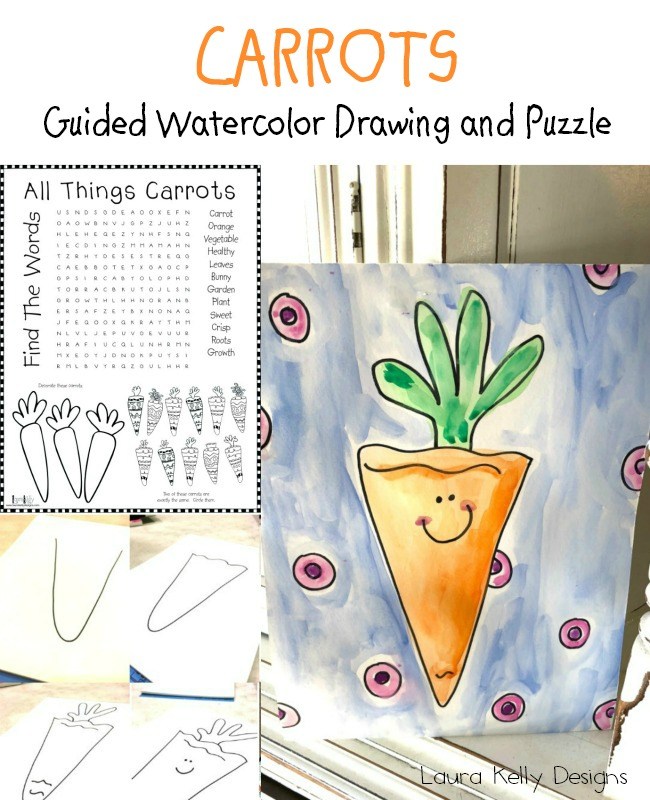 Guided-Drawing-Carrot-with-ooly-Watercolors