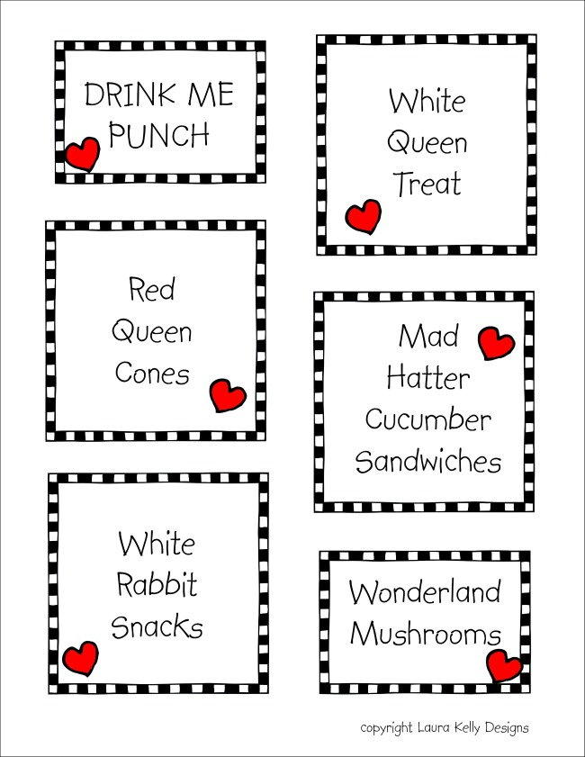 Wonderland Food Labels