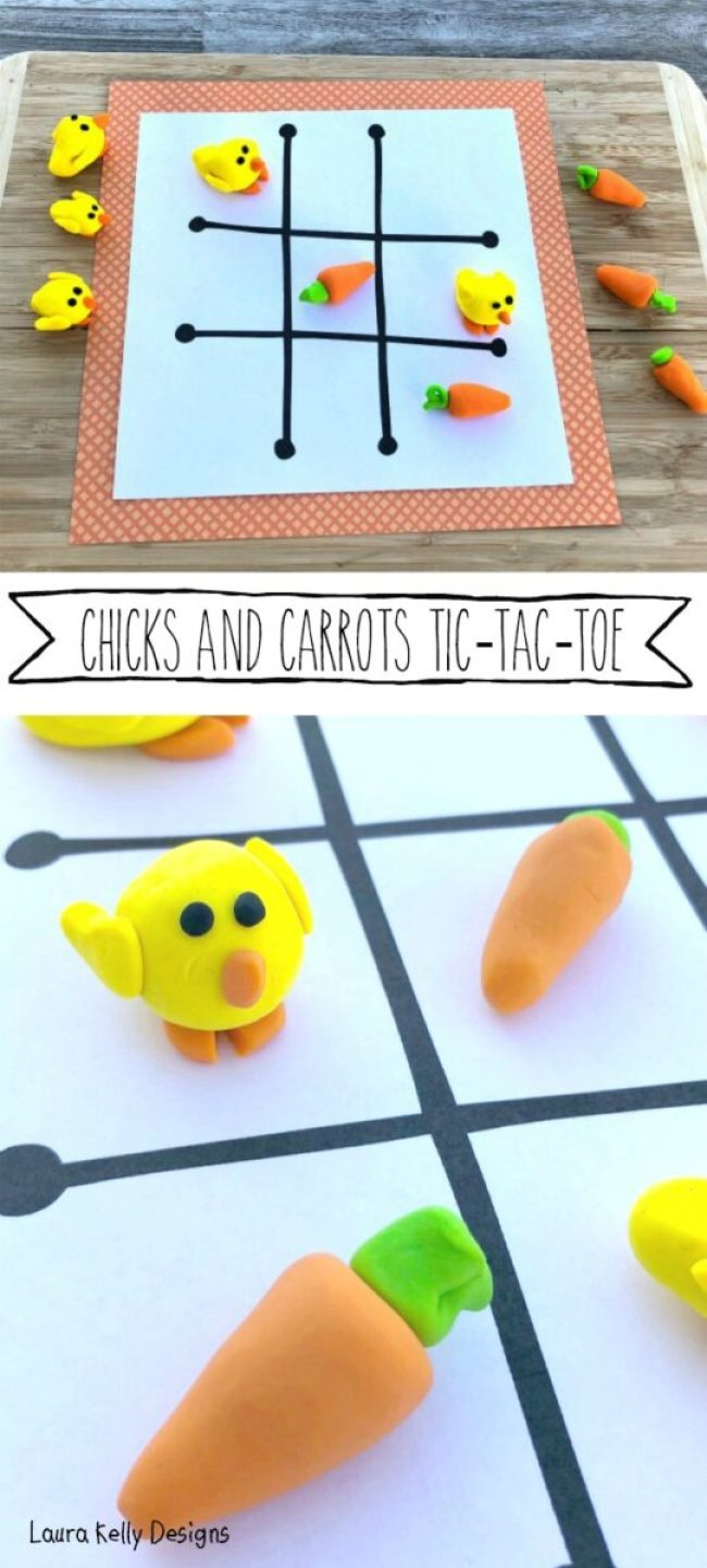 Easter TIc Tac Toe Clay Chicks and Carrots Polymer Sculpey