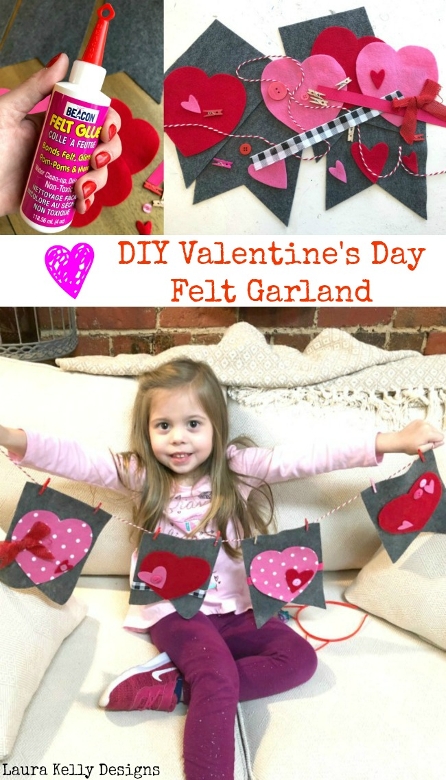 Felt Valentines Day Garland DIY for Beginning Crafters