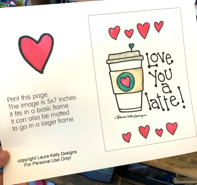 Coffee Printable Love you a Latte Download FREE