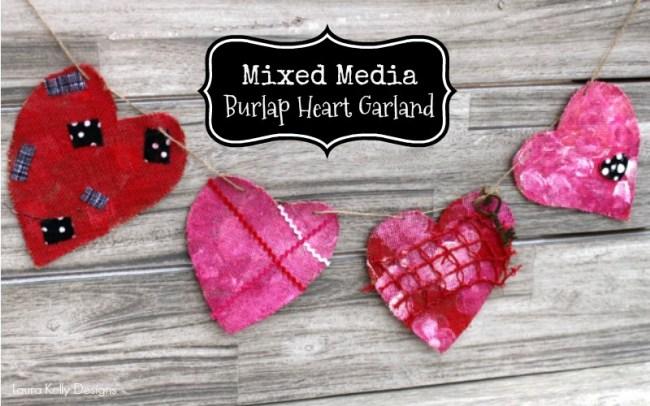 Mixed Media Burlap Heart Garland