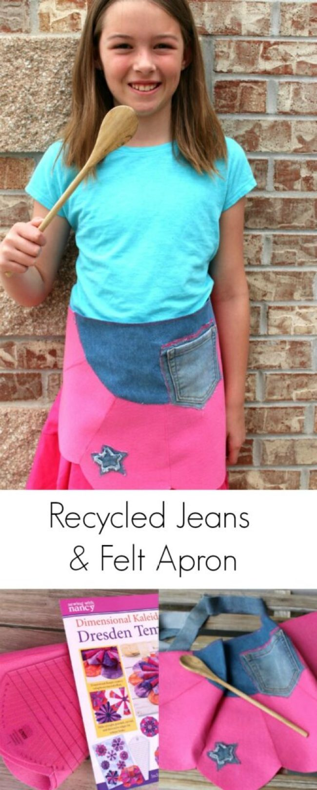 Recycled Jeans Apron with Dresden Template