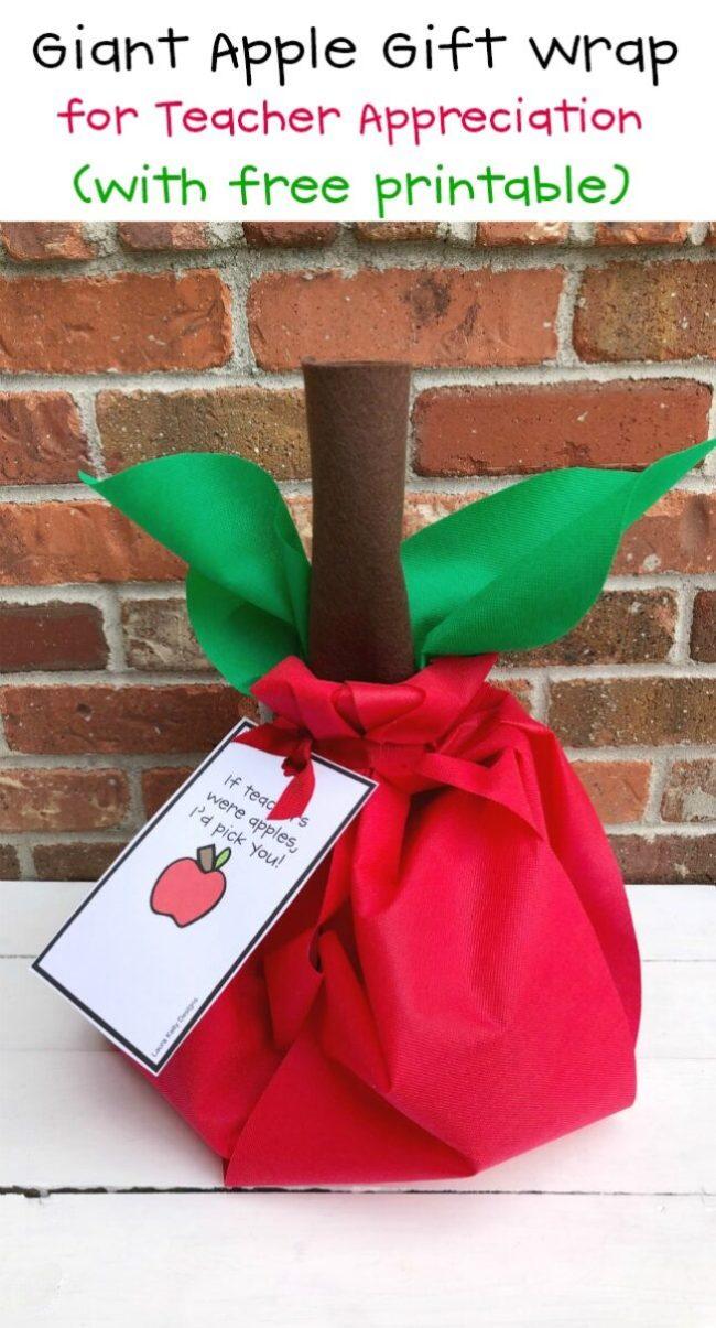Giant Apple Gift Wrap for Teacher Classroom Appreciation
