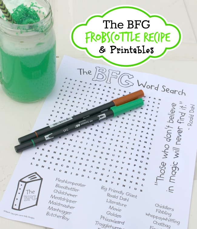 BFG Craft, Recipe and Word Search Disney Movie