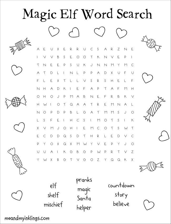 Elf on the Shelf Free Word Search Puzzle