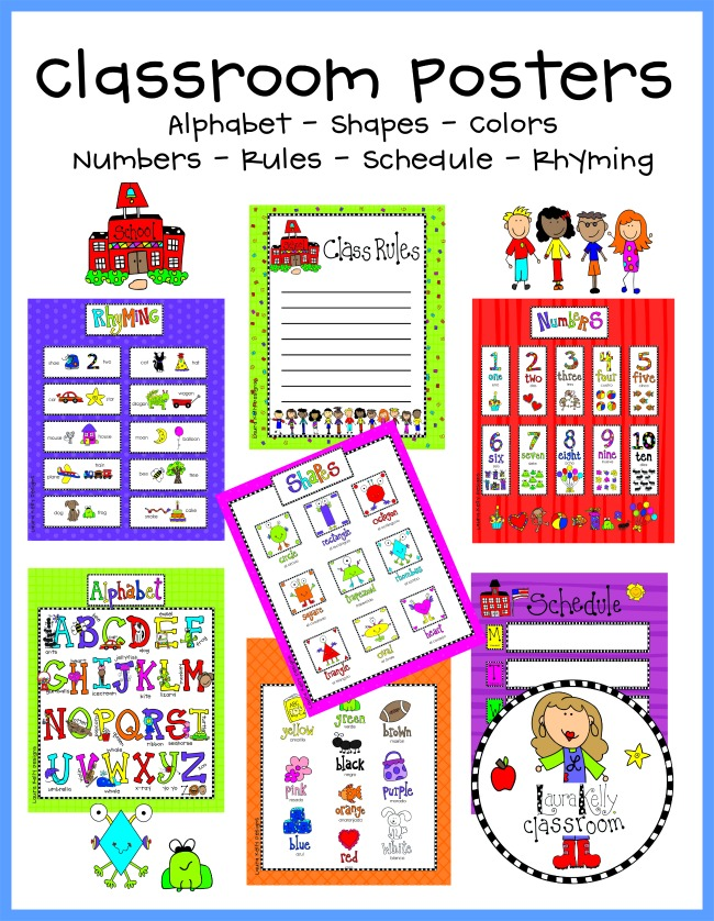 Free Mini Learning Posters for At Home Classroom