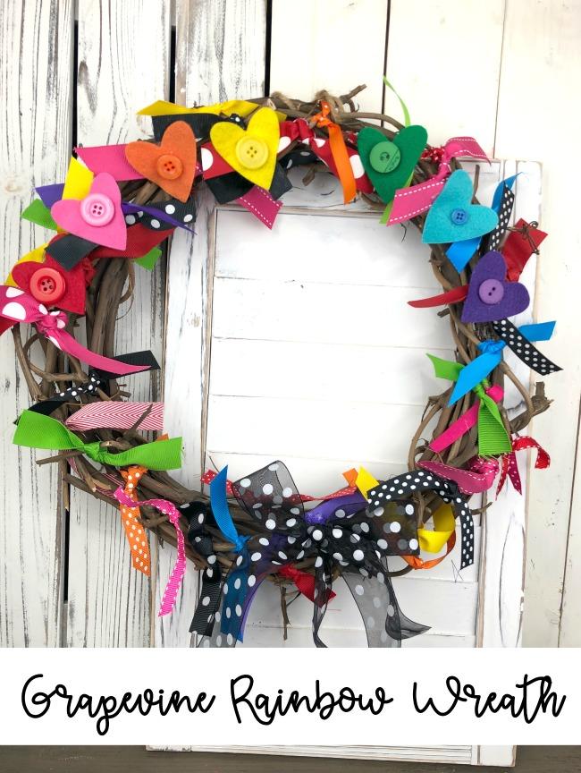 Grapevine Rainbow Wreath DIY Craft Project