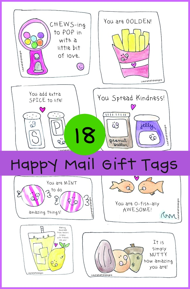 Happy Mail Free Printable Gift Tags by Laura Kelly