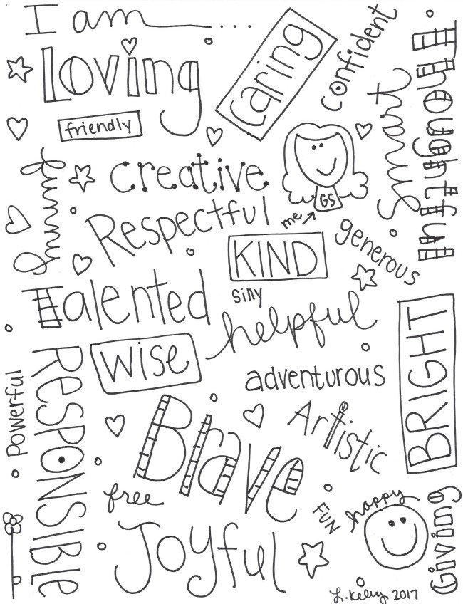 I AM Phrases Free Coloring Printable