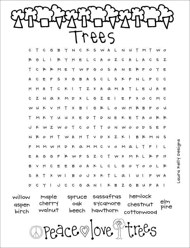 Trees Word Search Puzzle Printable Free Resource