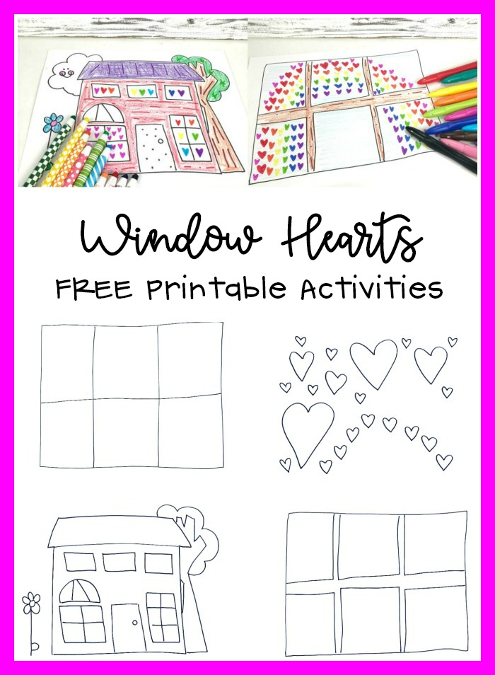 Window Hearts Printable Activities Pattern and Coloring