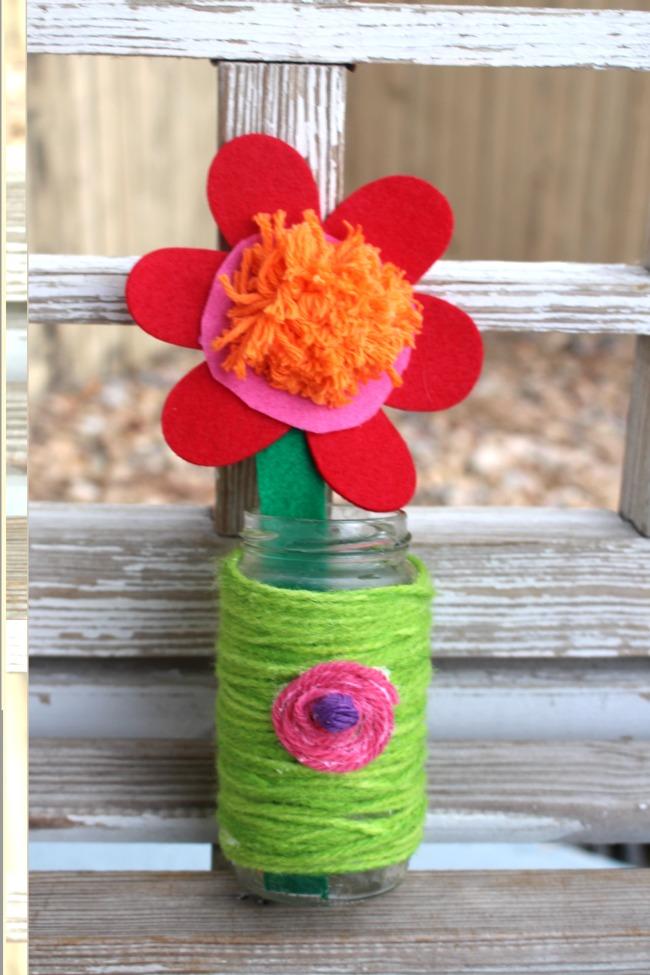 Yarn Wrapped Jar Recycled Kid Craft