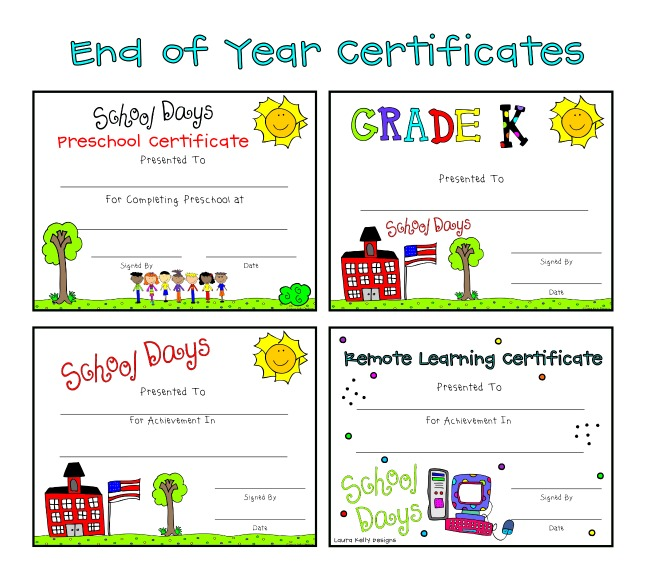 End of Year Certificates School Remote Learning Printables