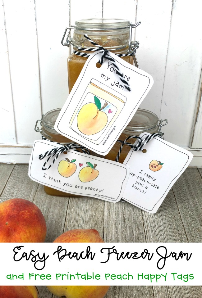 Easy Peach Freezer Jam Recipe and Gift Tags