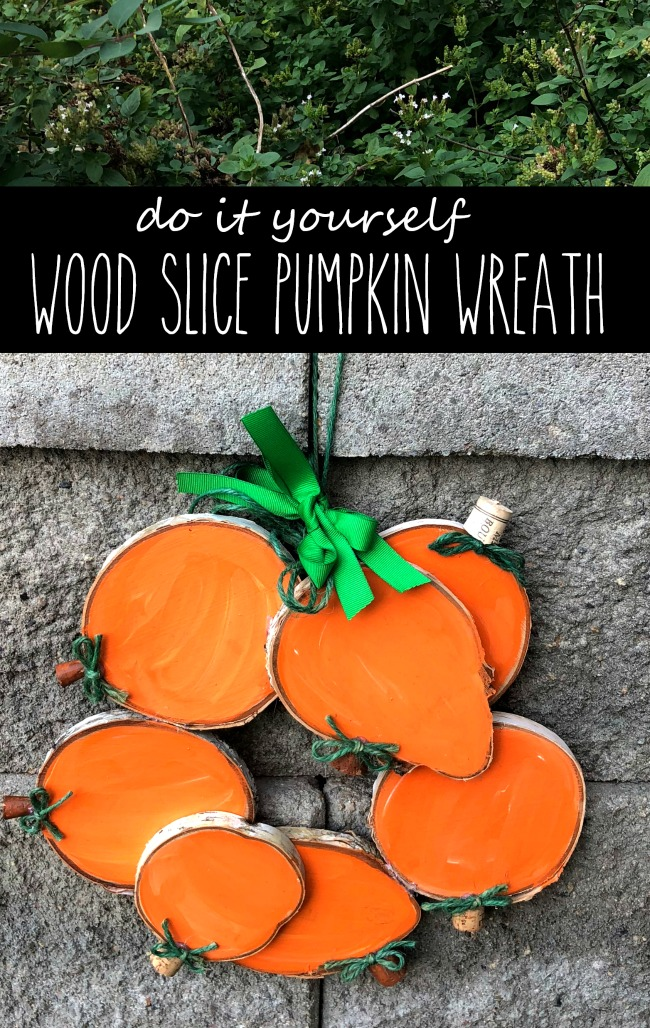 DIY Wood Slice Pumpkin Wreath
