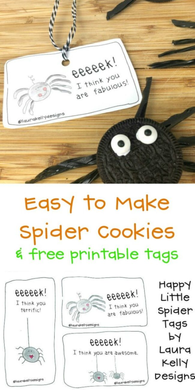 Sprinkling Holiday Kindness Printable Spider Tags for EASY Spider Cookies