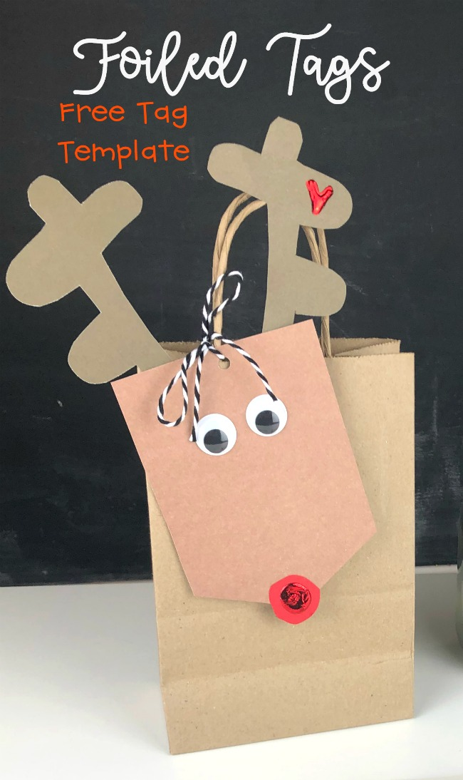 Free Tag Template Foiled Reindeer