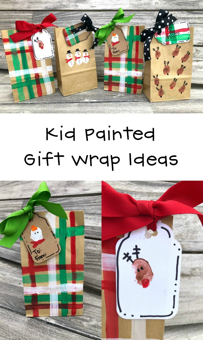 Kid Painted Gift Wrap and Tags
