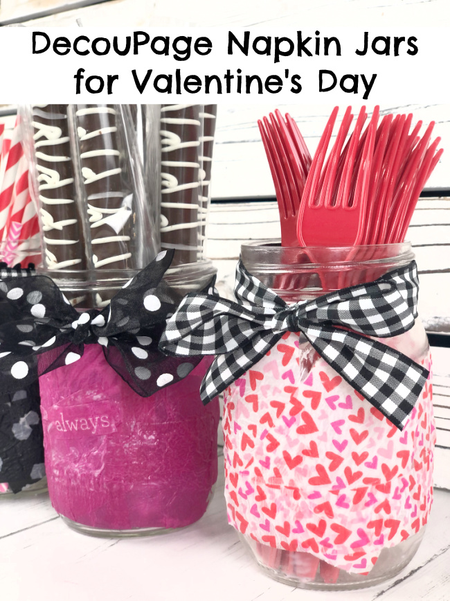 DecouPage Napkin Jar Valentines Day Decor