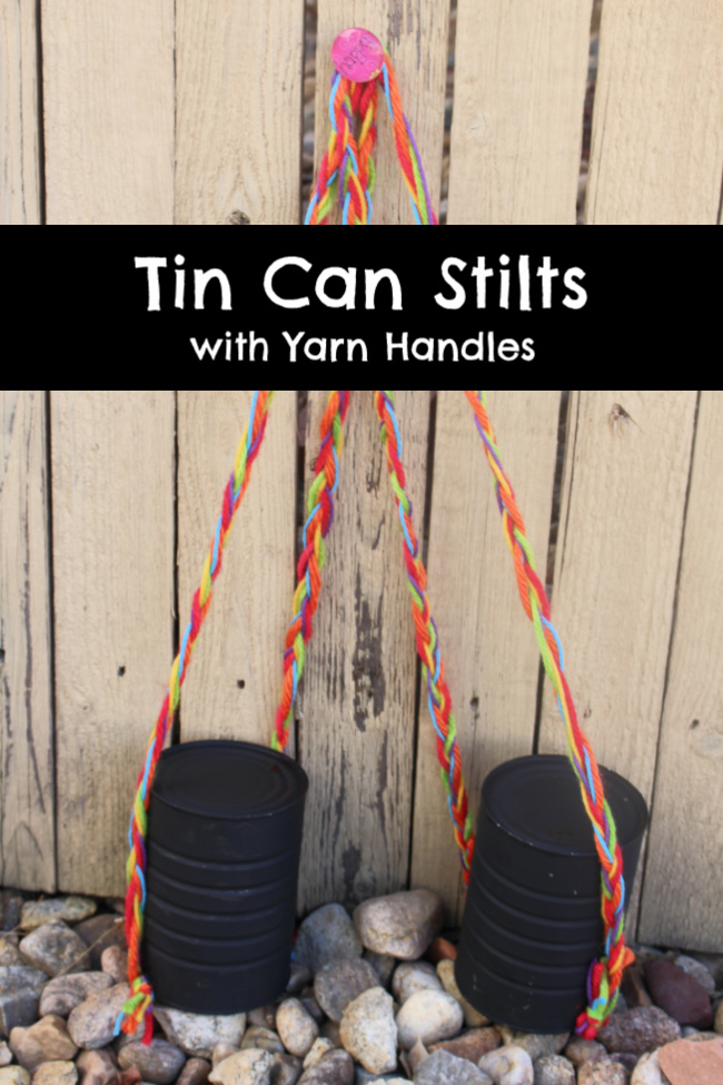 Recycled Tin Can Stilts made from recycled coffee cans and yarn. #laurakellydesigns