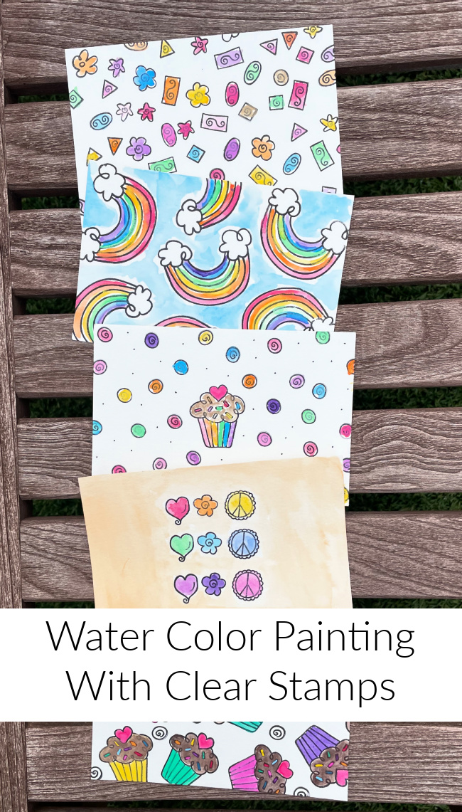 Water Color Painting With Clear Stamps #clearstamps #papercrafting #thermoweb #laurakellydesigns