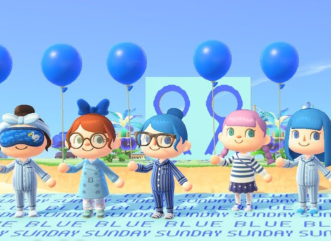 Five ACNH people each holding a blue balloon