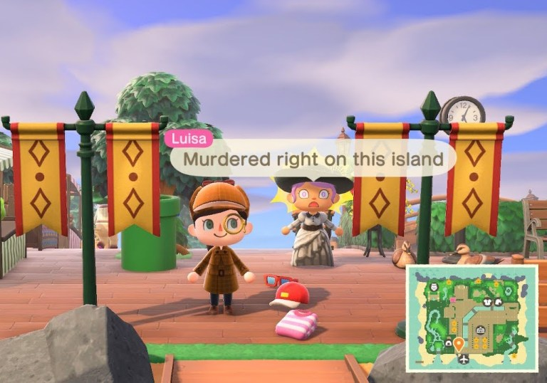 A detective stands in front of a person saying 'Murdered right on this island'