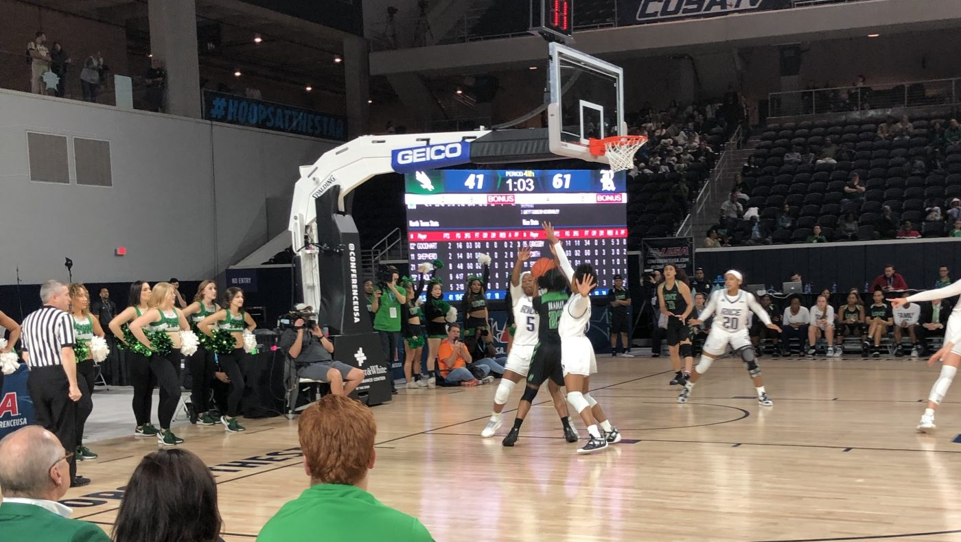 Terriell Bradley Tries to Score vs Rice 2019 CUSA Tournament