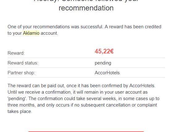 AccorHotels has rewarded you 45,22€
