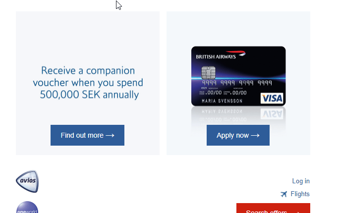british airways visa card sweden